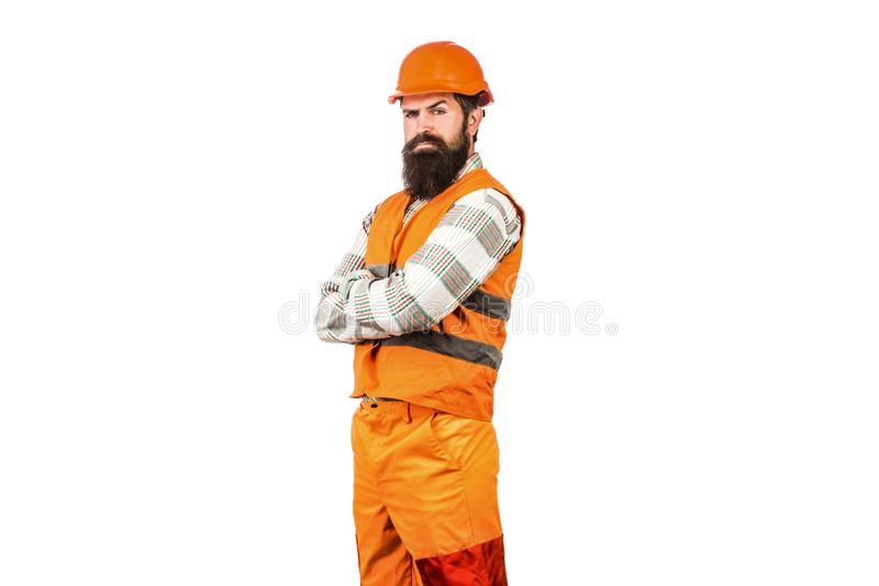 Worker in construction uniform. Man builders, industry. Architect builder. Builder in hard hat, foreman or repairman in stock photo