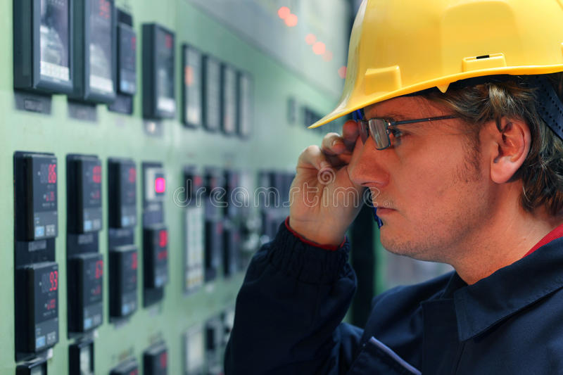 Download Worker in a Control Room stock image. Image of blue, machinist - 18359123