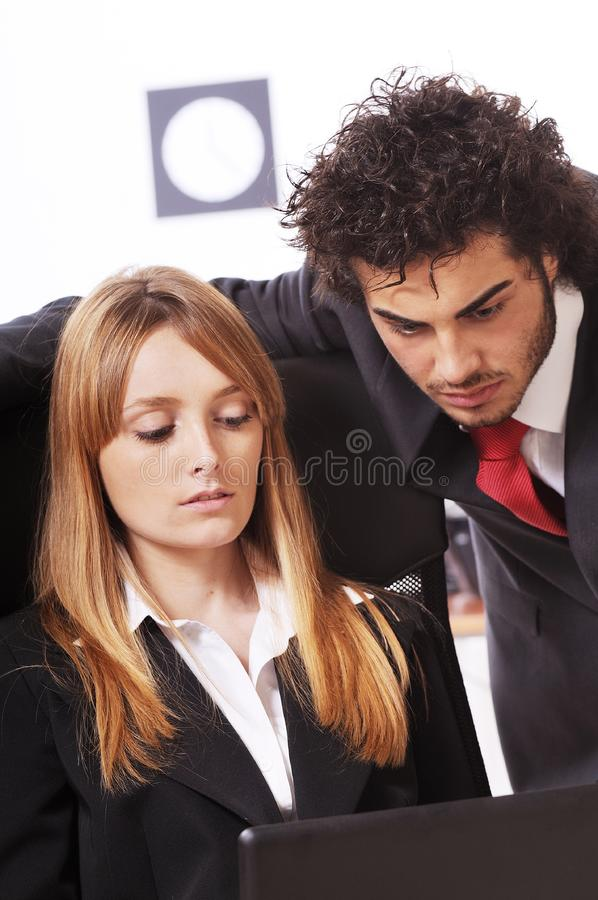 Download Worker couple uses laptop stock photo. Image of work, bank - 8548844