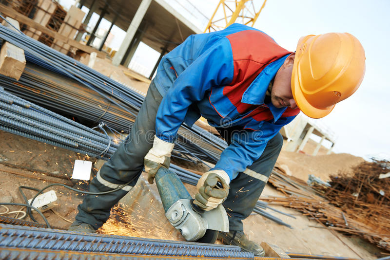 download worker cutting rebar by grinding machine stock image image of concreting site
