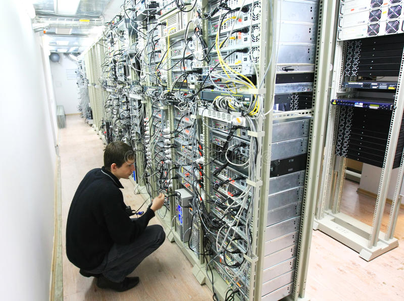 Worker at Data Center stock images