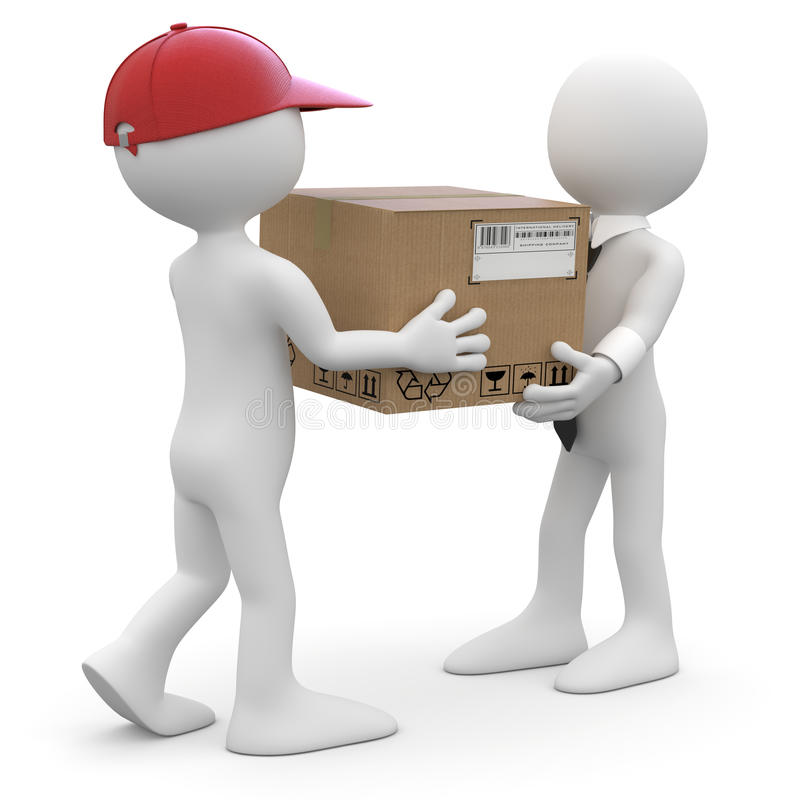 Worker delivering a package to a businessman stock illustration
