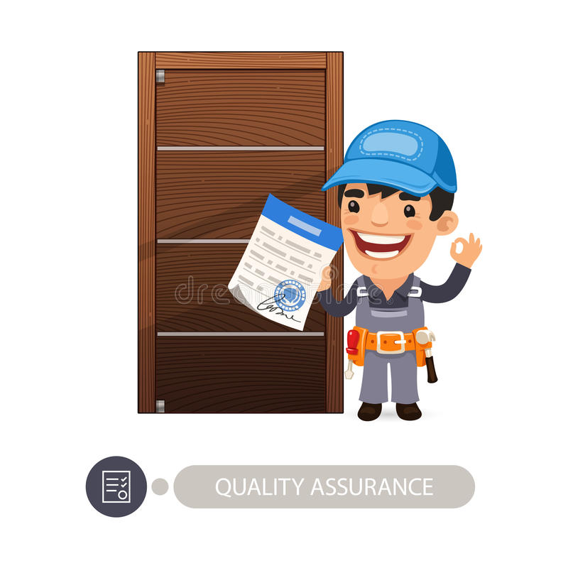Worker and Door Quality Assurance vector illustration