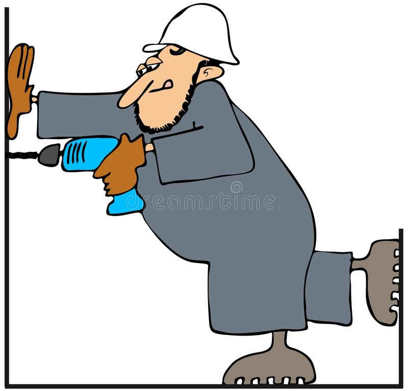Download Worker with a drill stock illustration. Image of drill - 26077279