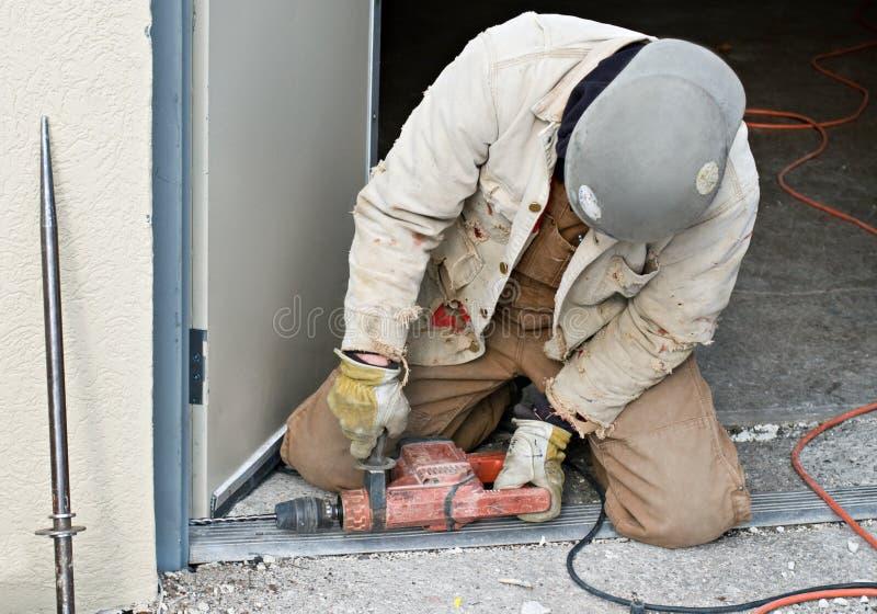 Download Worker Drilling Door Jam stock photo. Image of occupation - 7265124