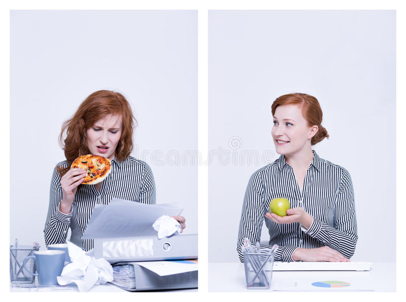 Worker eating pizza and apple stock image