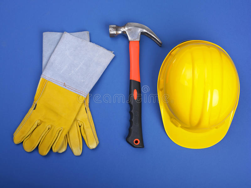 Download Worker Equipment - HardHat Hammer And Gloves Stock Photo - Image: 14845326
