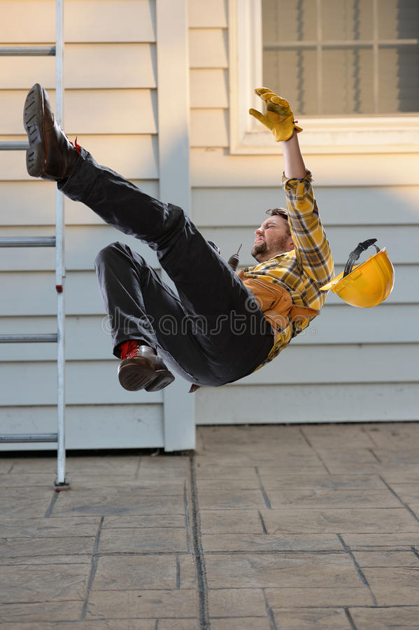 Worker Falling From Ladder royalty free stock images