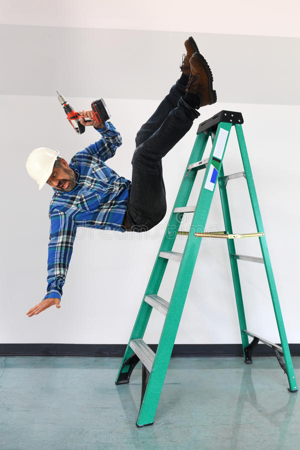 Worker Falling Off A Ladder Stock Photo Image Of Falling