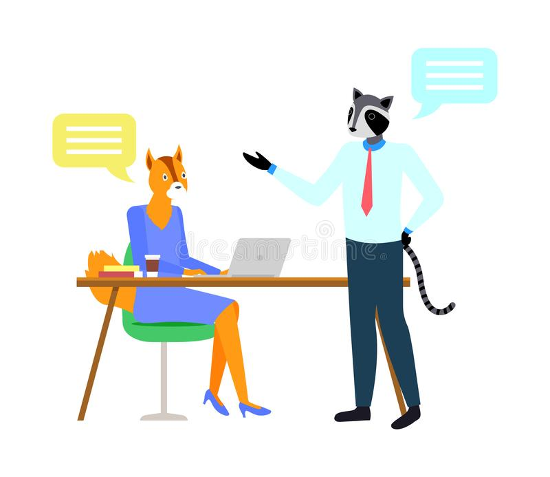 Fox and Raccoon Hipster Animal, Workplace Vector royalty free illustration