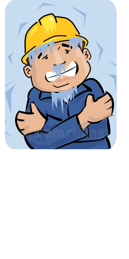 Worker freezing. Cartoon illustration of a worker trembling and freezing vector illustration