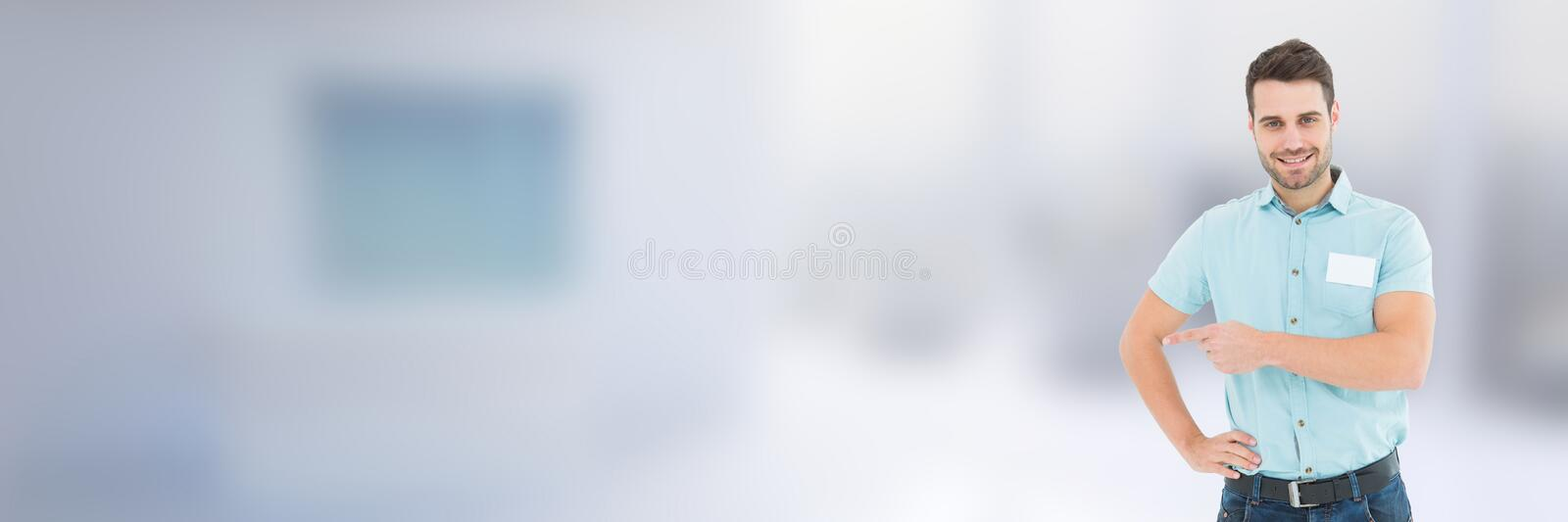 Worker in front of blurred background royalty free stock photography