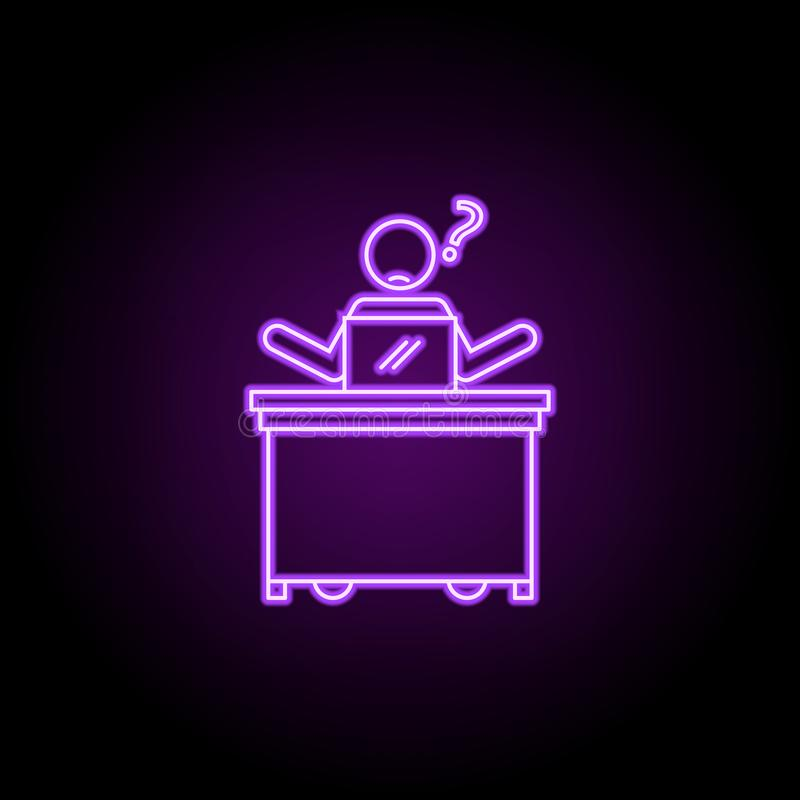 Worker frustrated neon icon. Elements of People in the work set. Simple icon for websites, web design, mobile app, info graphics. On dark gradient background royalty free stock images