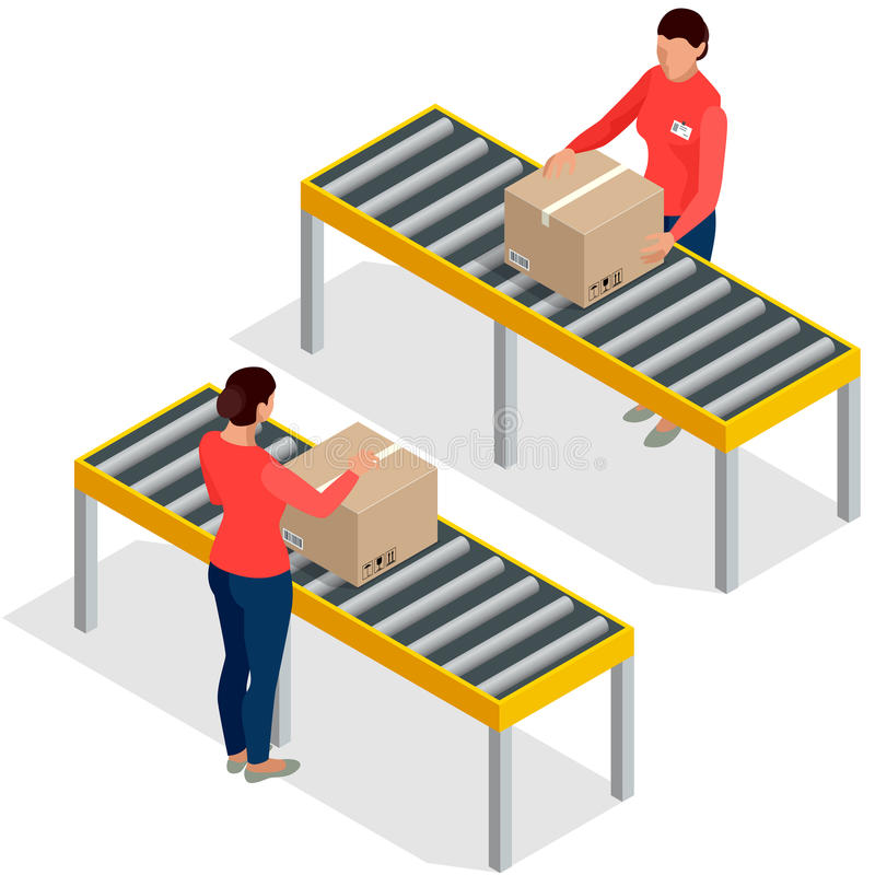 Worker goods packaging with boxes at packing line in factory. Workers In Warehouse Preparing Goods For Dispatch. Flat 3d stock illustration