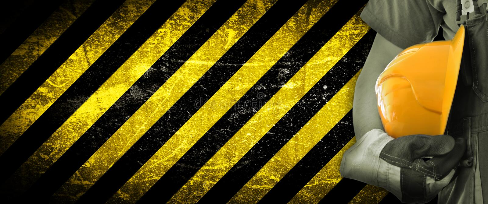 Worker and grunge texture in background royalty free stock photography