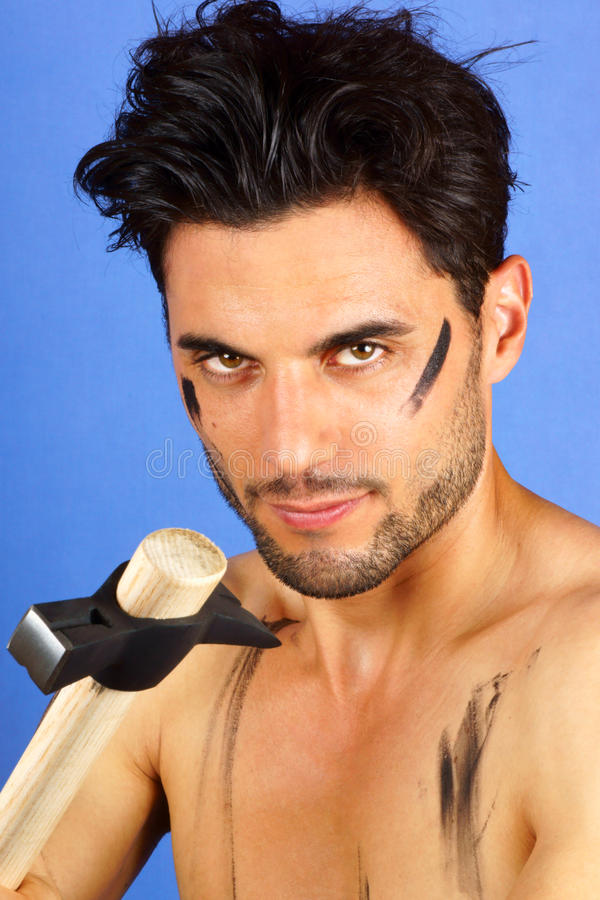 Download Worker with hammer stock image. Image of brown, worker - 26422419