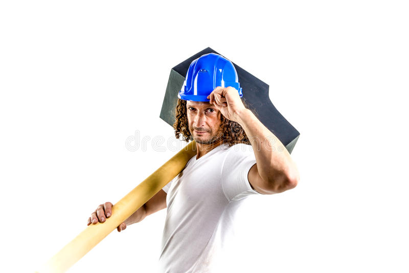 Worker with a hammer. A worker with a hammer a thumbs up on a white background royalty free stock images
