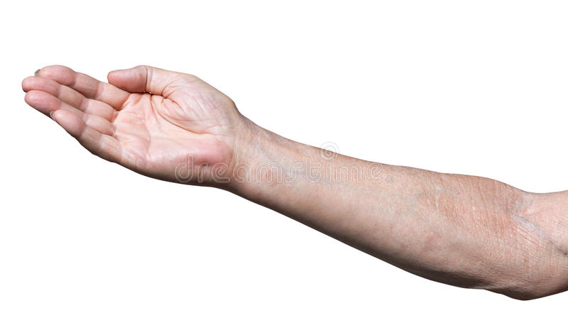 Worker hand with by cupped palm. Hand gesture isolated on white background stock photos