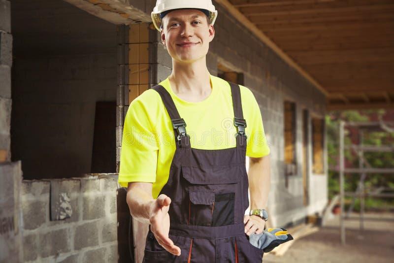 Worker hand shake stock photo