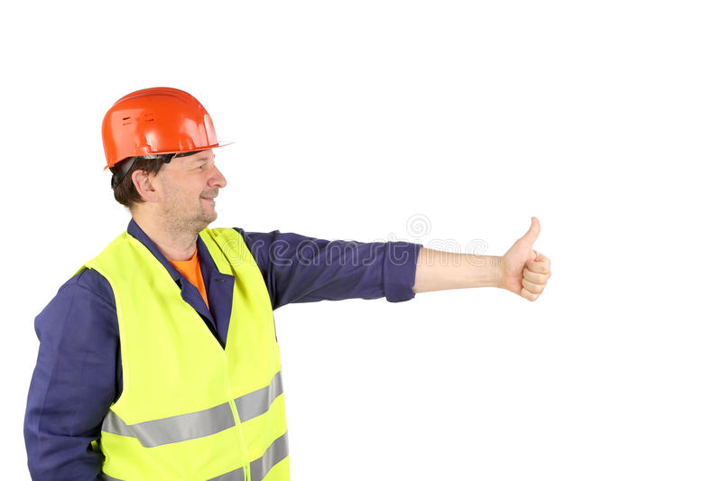 Download Worker In Hard Hat With Hand Up. Stock Image - Image: 36500123