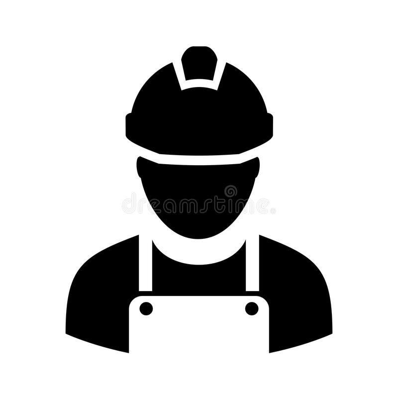 Worker with hard hat icon stock illustration