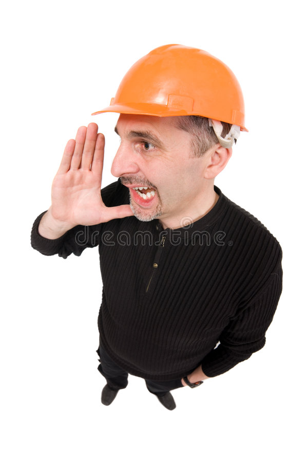 Worker with hardhat shouting