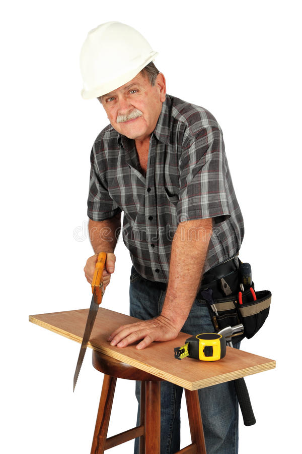 Worker. With hat and tools on white background stock photography