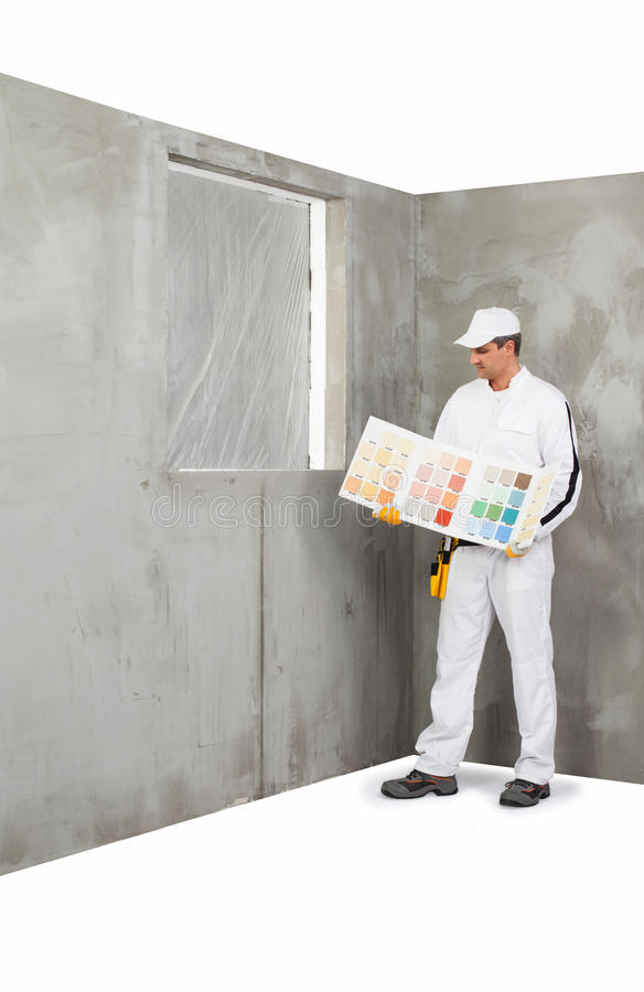 Download Worker Holding A Colour Samples Palette Stock Image - Image: 33524757
