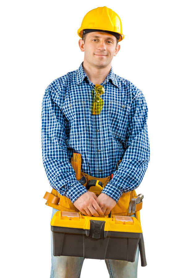 A worker holding tool box stock photo