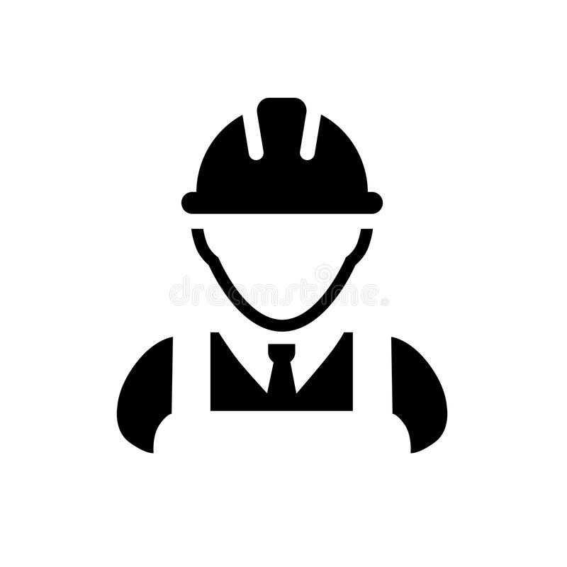 Worker icon for vector. Construction Worker Icon - Vector Person Profile Avatar With Hard hat Helmet and Jacket Glyph Pictogram Symbol illustration vector illustration