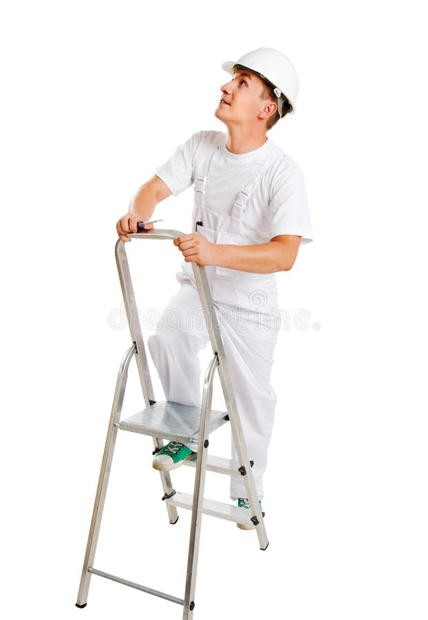 Worker on a ladder. Isolated on white background stock image