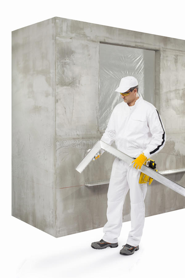 Download Worker with a lath stock image. Image of board, foreman - 33942805