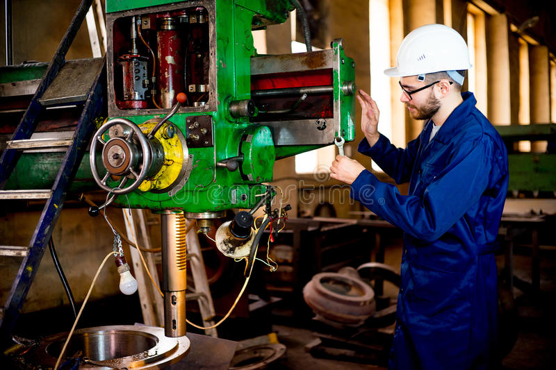 Worker with lathe royalty free stock photos