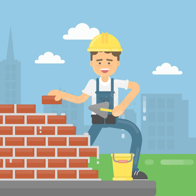 Worker lays bricks. Happy bricklayer in uniform and helmet does his work. Concrete and bricks vector illustration
