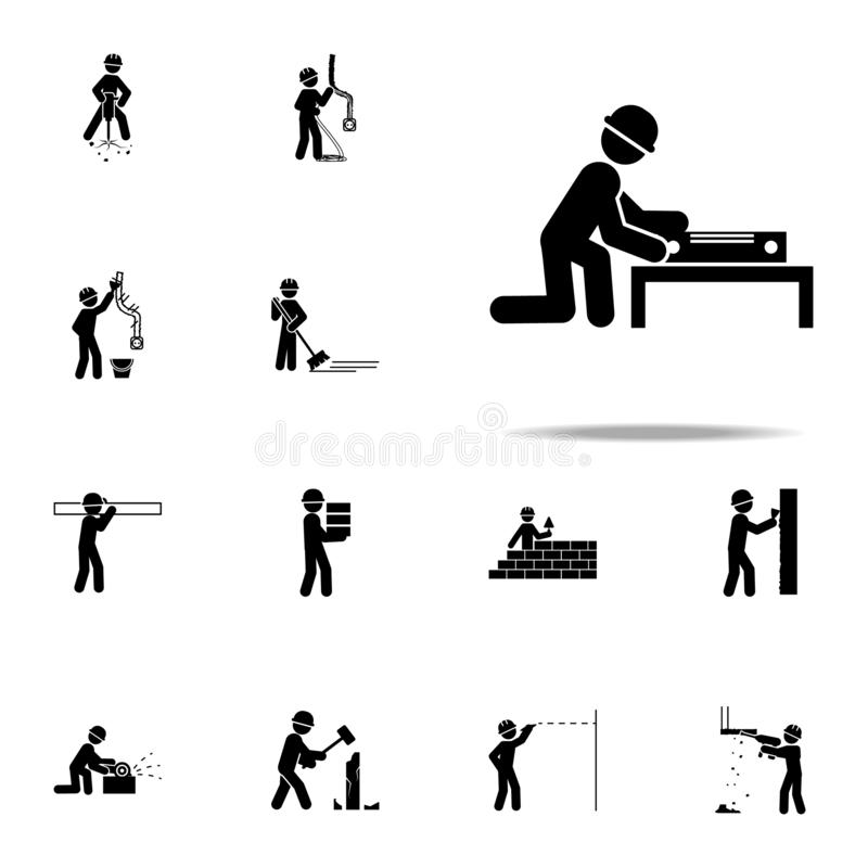 Worker with a level meter icon. Construction People icons universal set for web and mobile. On white background vector illustration