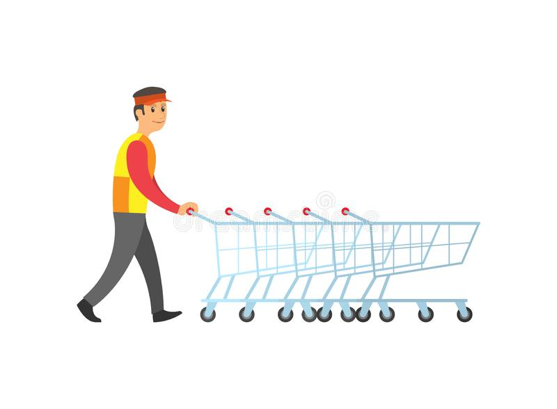 Worker Man Arranging Shopping Trolleys Vector. Worker man arranging empty metal shopping trolleys with handles vector. Carts for goods and bought products royalty free illustration