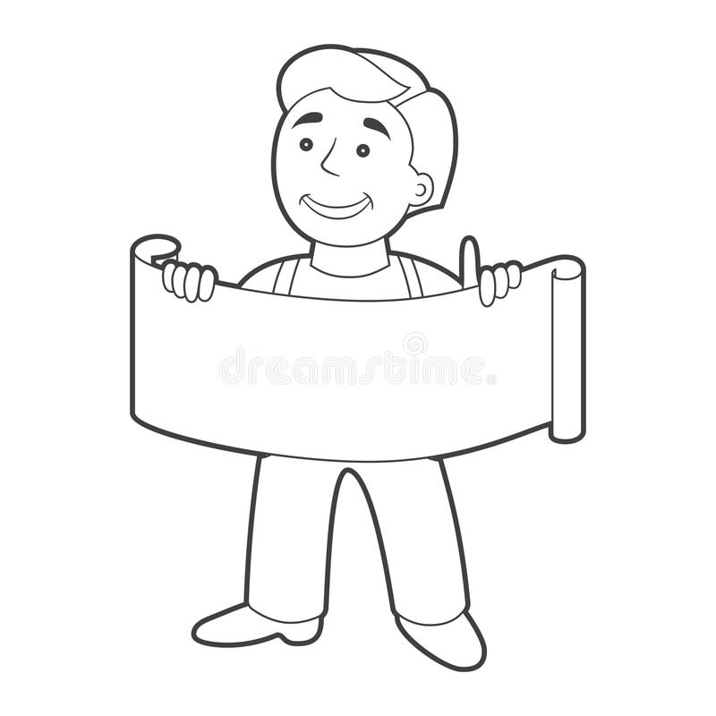 Worker man with banner in cartoon style. vector illustration
