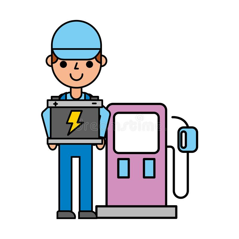 Worker man with battery pump station automotive service vector illustration