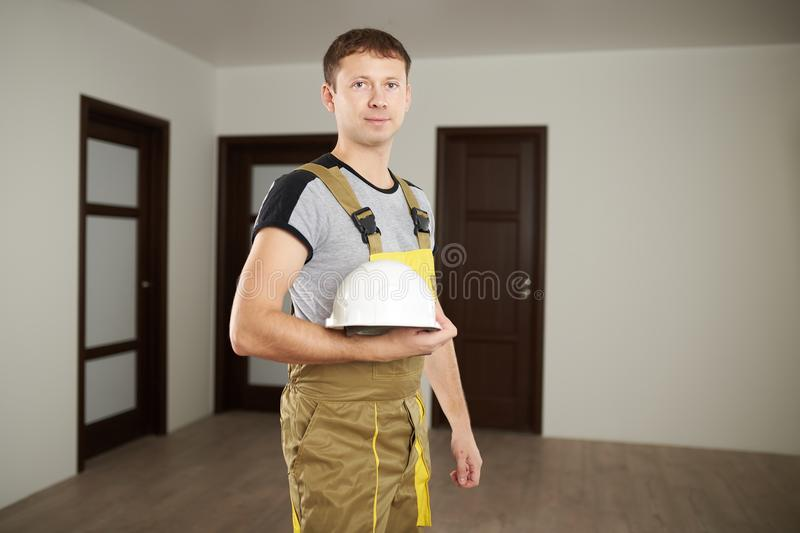 Worker man with hardhat royalty free stock images