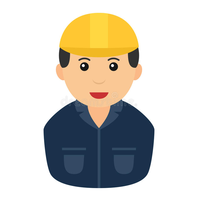 Worker Man with Safety Helmet Avatar Icon royalty free illustration