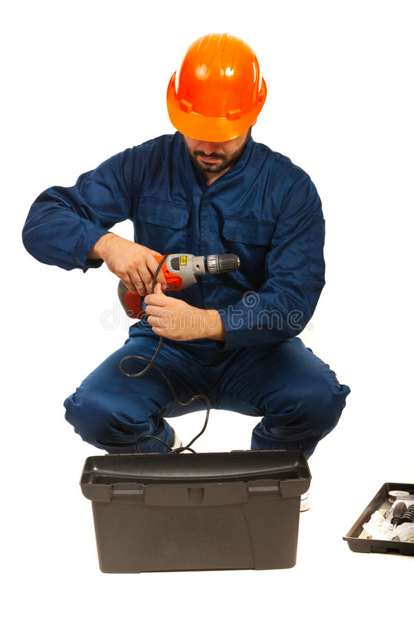 Worker man with tools. Box isolatedon white background stock photos