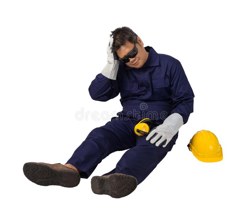 Worker in Mechanic Jumpsuit had an accident at work isolated on white background stock images