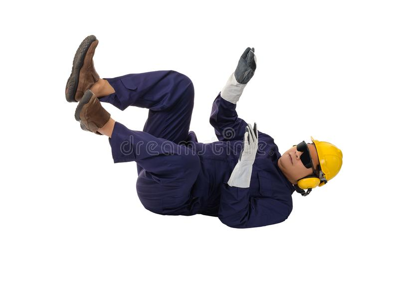 Worker in Mechanic Jumpsuit had an accident at work isolated on white background royalty free stock photos