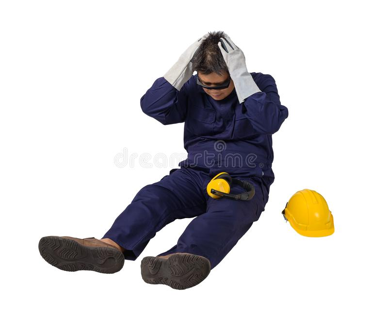 Worker in Mechanic Jumpsuit had an accident at work isolated on white background stock photos