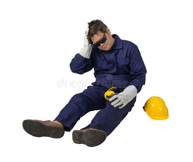 Worker in Mechanic Jumpsuit with helmet, earmuffs, Protective gloves and Safety goggles had an accident at work isolated on white royalty free stock image