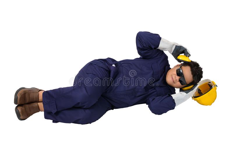 Worker in Mechanic Jumpsuit had an accident at work isolated on white background royalty free stock photography