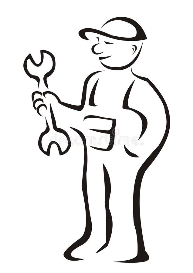 Worker. Mechanic with a wrench, black sketch stock illustration