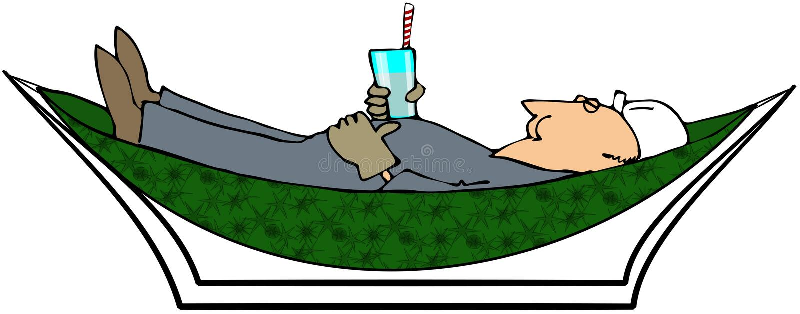 Worker relaxing in a hammock vector illustration