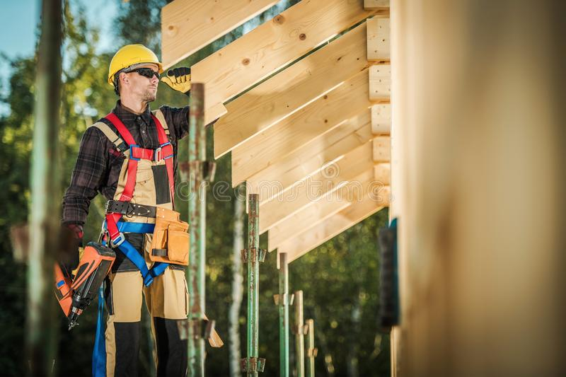 Worker with Nail Gun royalty free stock images