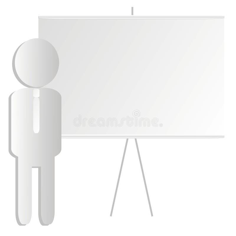 Worker near presentation board stock image